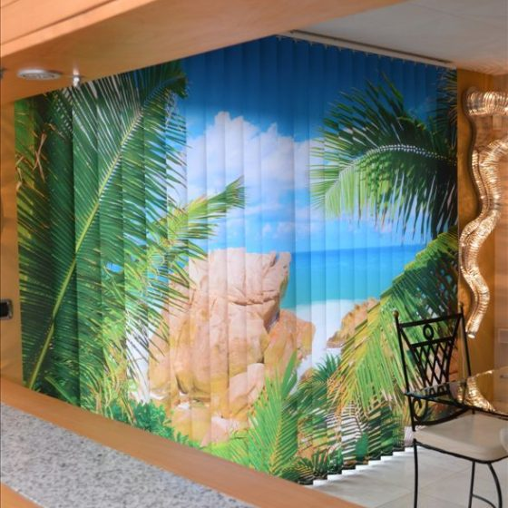 Store imprimé avec un paysage